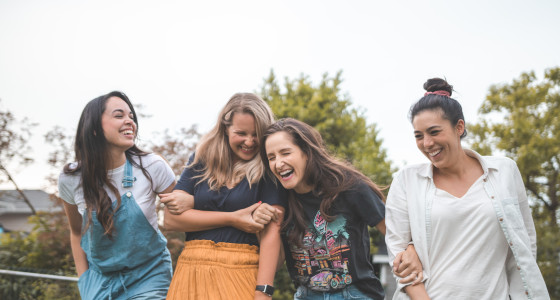 Group of female friends smiling