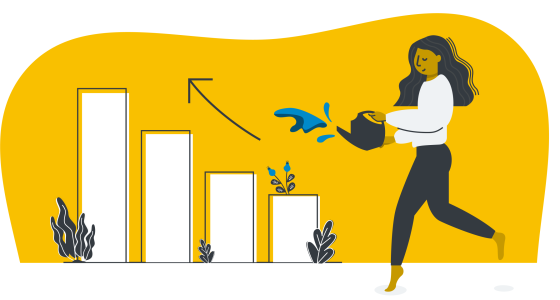 illustration of a woman watering her plants in black and white with a yellow background