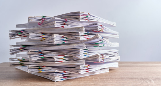 A stack of paperwork