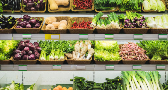 Selection of vegetables at the supermarket