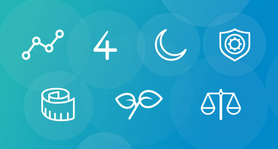 Blue background with seven icons drawn in a white outline.