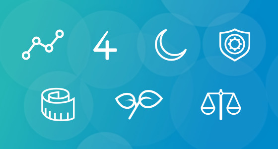 Blue background with seven icons drawn in a white outline