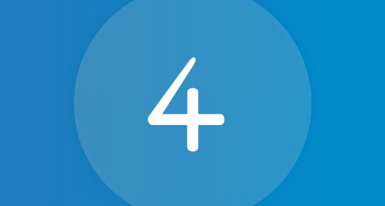 number 4 in white text against a blue background