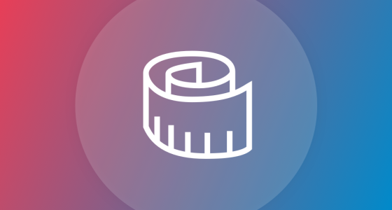 Measuring tape icon in white against a pink and blue background