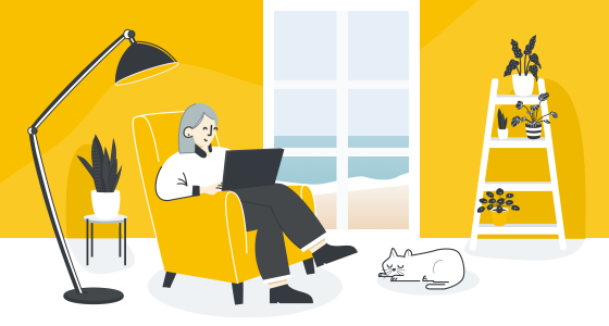 An illustration of a woman reading at home with her cat