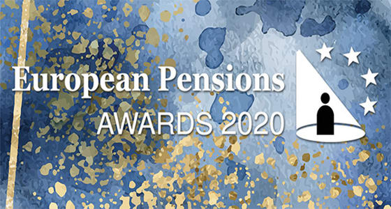 European pensions award logo on blue background with gold