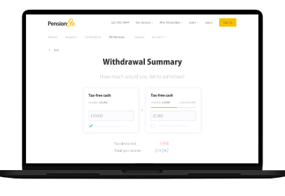 PensionBee withdrawal summary on laptop