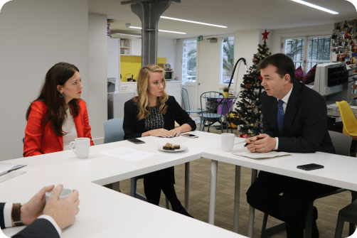 The Minister for Pensions, Guy Opperman, visits PensionBee's offices