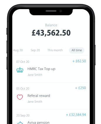 iPhone showing pension balance