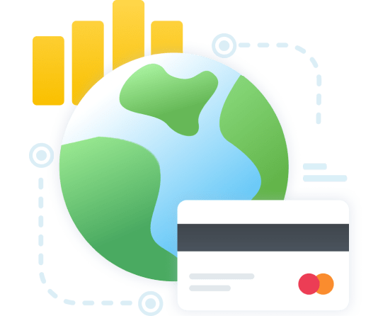 an image of a globe, a bar chart and a bank card