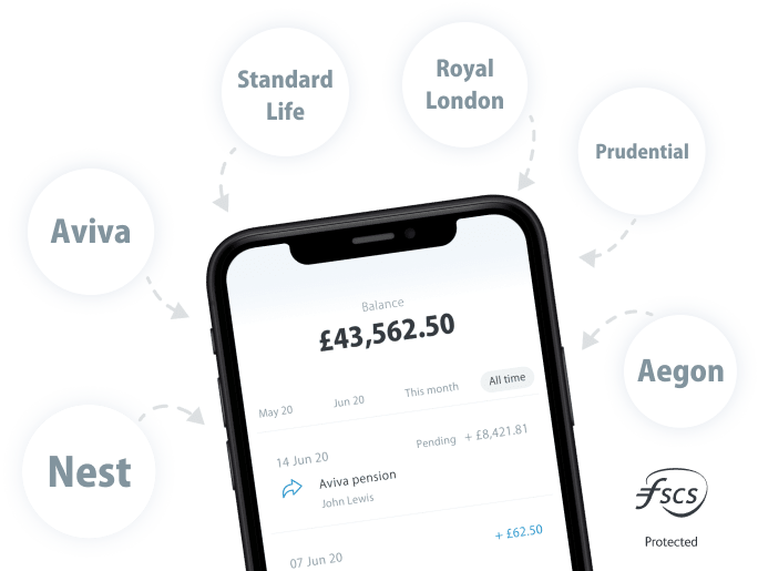 Smartphone with pension balance surrounded by provider names