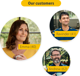 three images of PensionBee customers. Ravinder aged 41, Emma aged 40 and Andrew aged 62