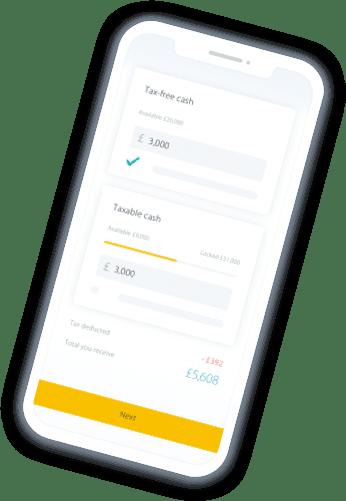 Mobile phone showing drawdown calculator