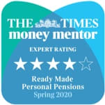 The Times money mentor expert rating 4/5 stars, 'Ready Made Personal Pensions, Spring 2020'