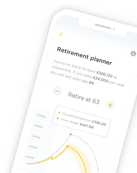 Mobile phone showing retirement planner