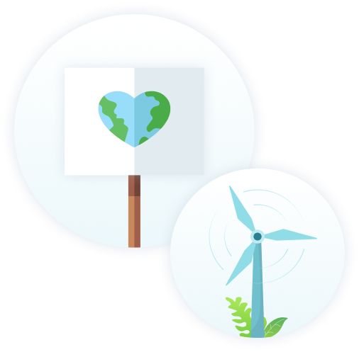 an image of a placard with a heart shaped globe and a seperate image of a wind farm