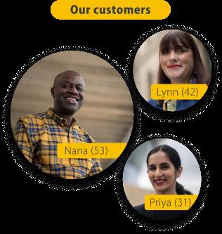 three images of PensionBee customers. Lynn aged 42, Nana aged 53 and Priya aged 31