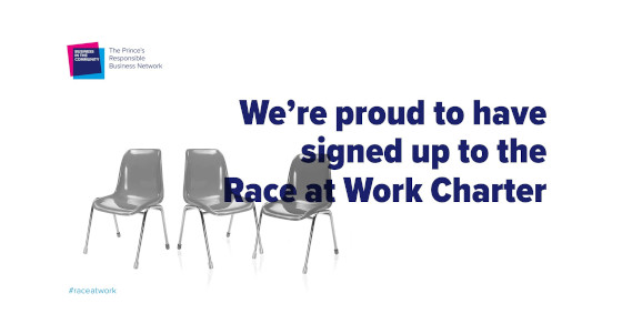 Race at Work logo on top of a photograph of three empty grey plastic chairs