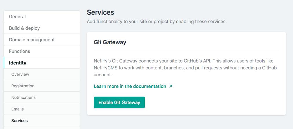 Enable Git Gateway