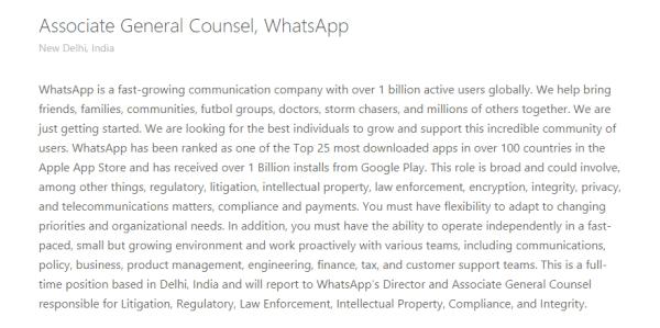 whatsapp legal head