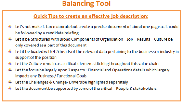 Balancing Tool: Quick Tips to create an effective job description