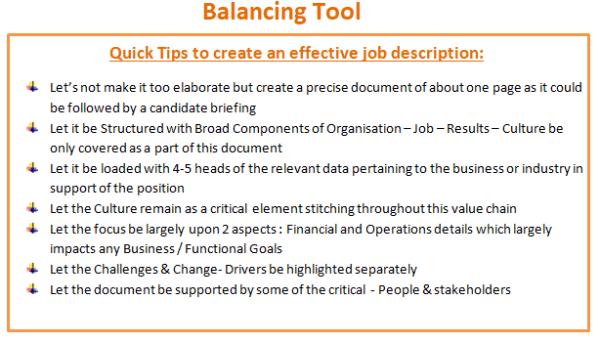Balancing Tool: Quick Tips to create an effective job description