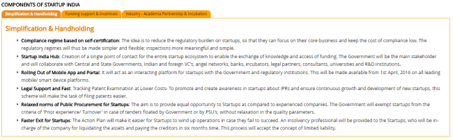 Components of Startup India
