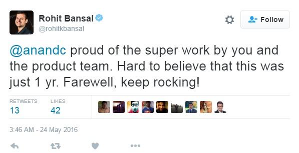 Rohit Bansal Tweeted