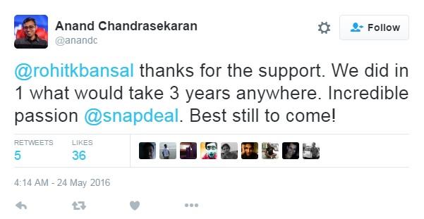 Anand Chandrasekaran Tweeted