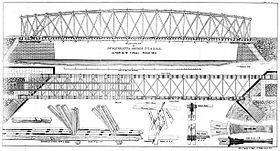 Lithographic Drawing of McCullum's Patent Timber Bridge
