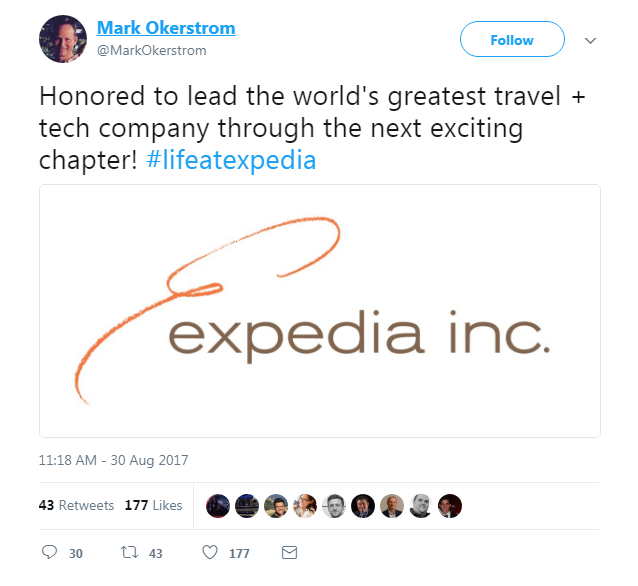 Expedia CEO's tweet on appointment