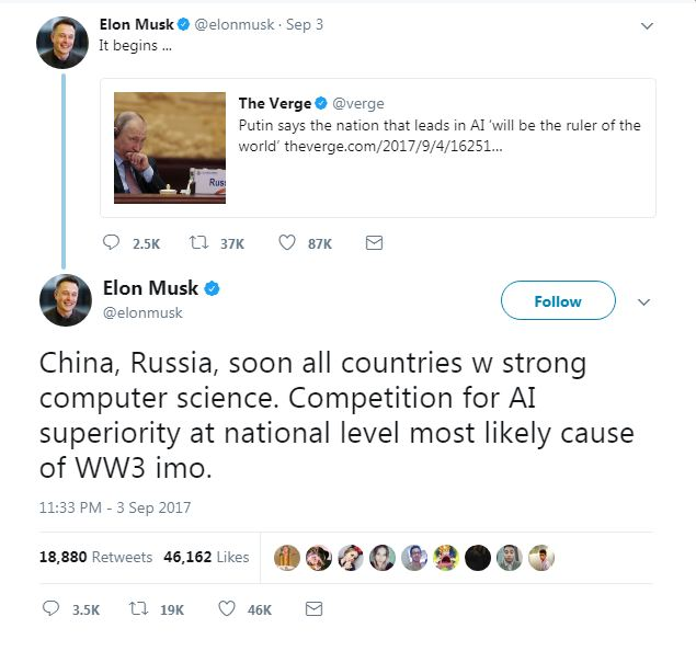 Elon Musk tweets on AI