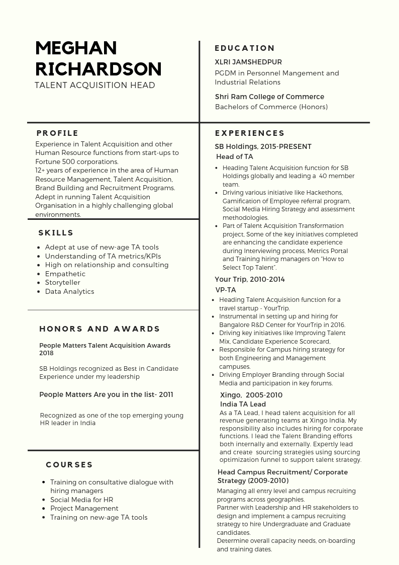 Article Infographic Perfect Resume Of A Talent