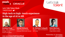 "Tweetchat on ""High-tech vs high-touch"" experience in the age of AI in HR"