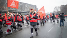 Thyssenkrupp steelworkers in Germany protest against job cuts