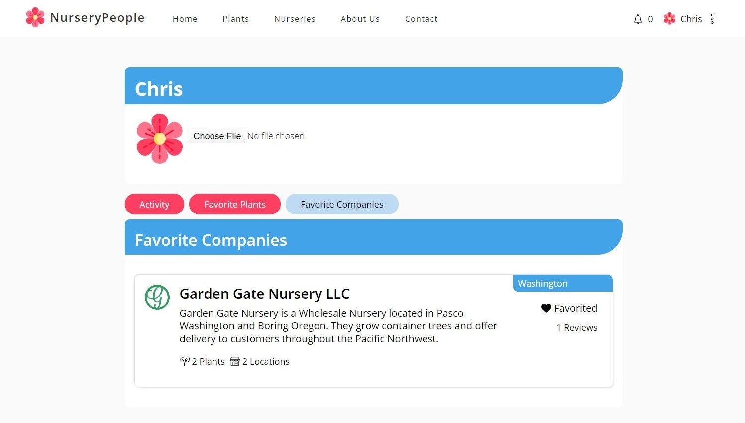 The NurseryPeople Profile page