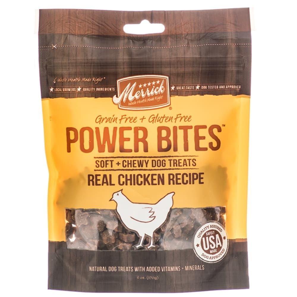 Merrick - Power Bites Real Chicken Recipe Soft & Chewy Grain-Free Dog Treat, 6oz