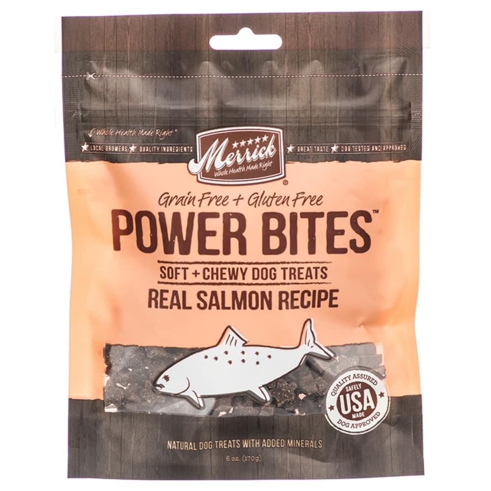 Merrick - Power Bites Real Salmon Recipe Soft & Chewy Grain-Free Dog Treat, 6oz