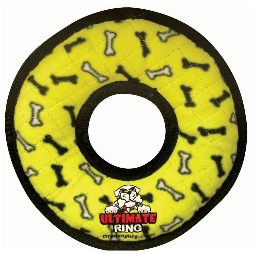 VIP Products - Tuffy No Stuff Ultimate Ring Yellow Paws Dog Toy, 9.5in