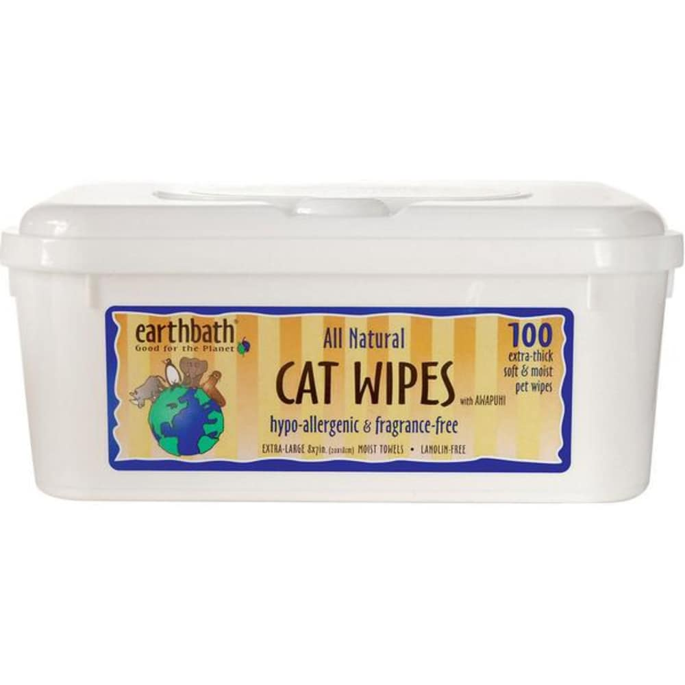 Earthbath - Extra Thick, Hypo-Allergenic Fragrance Free Grooming Wipes For Cats, 100 Count