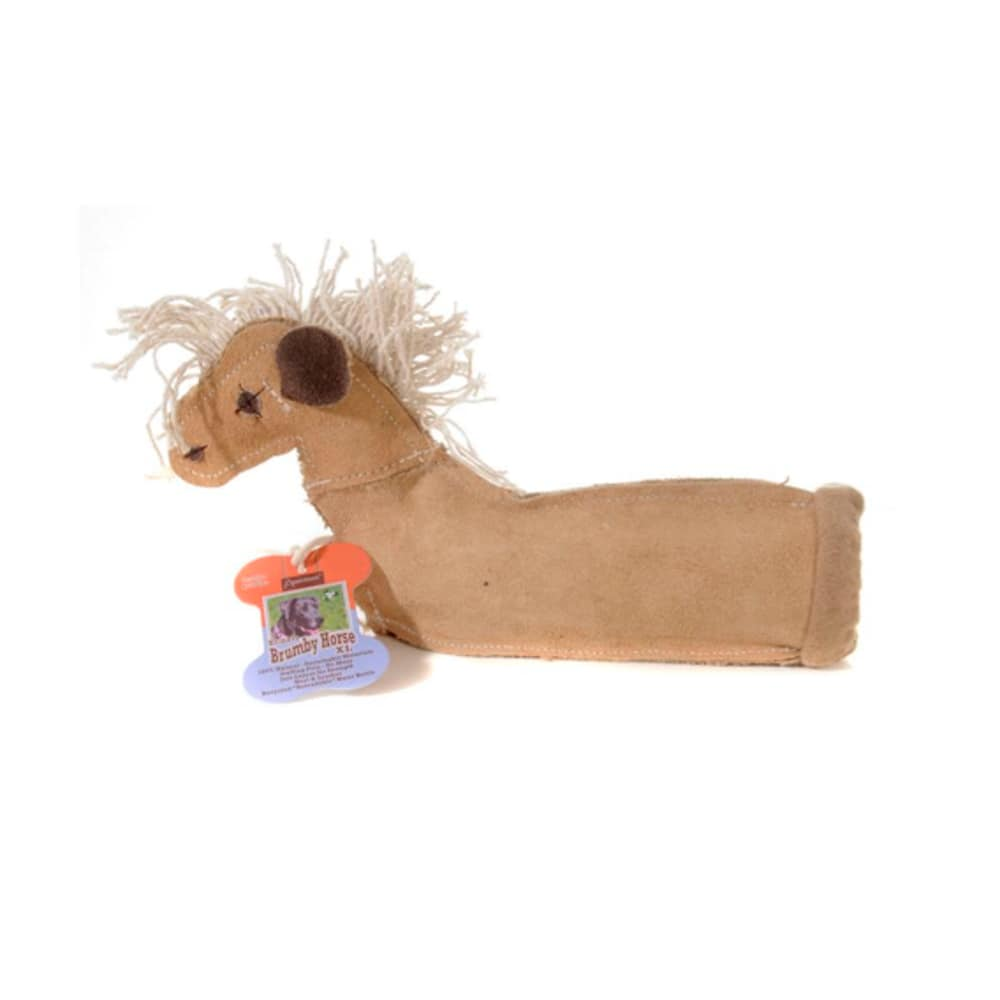 "Aussie Naturals - 100% Natural Eco-Friendly Leather Krinkle Brumby Horse With Recycled ""Reloadable"" Water Bottle Dog Toy, X-Large"