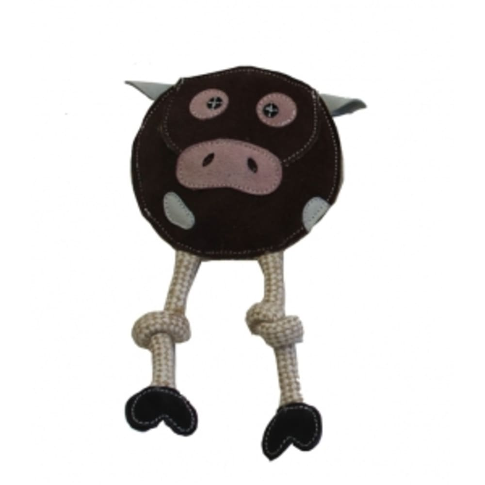 Aussie Naturals - 100% Natural Eco-Friendly Leather Flattie Cow With Squeaker Dog Toy