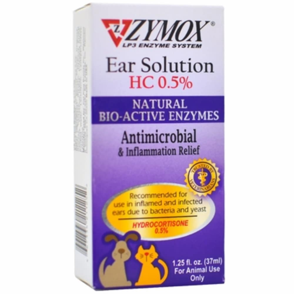 Zymox - Inflammation Relief Ear Solution For Dogs & Cats, 1.25oz