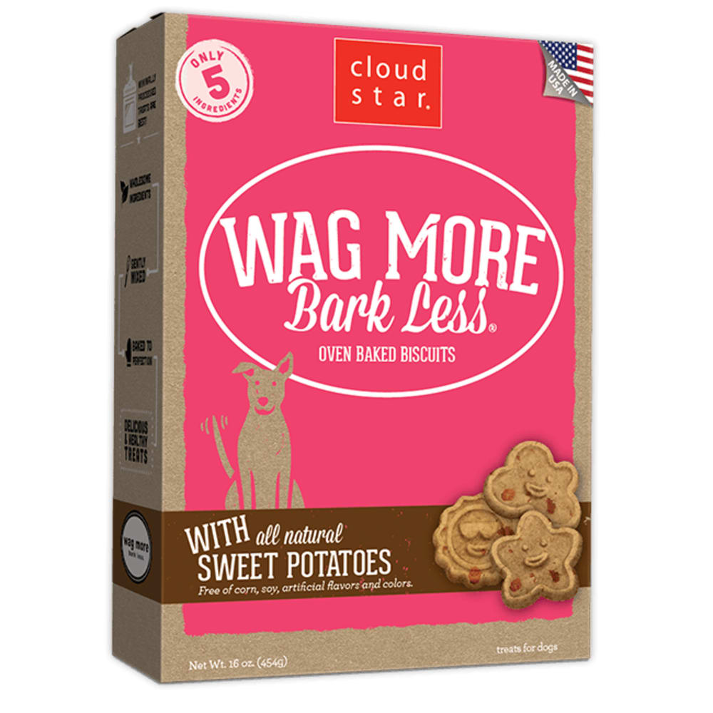 Cloud Star - Wag More Bark Less Oven Baked Sweet Potatoes Biscuits Dog Treats, 16oz