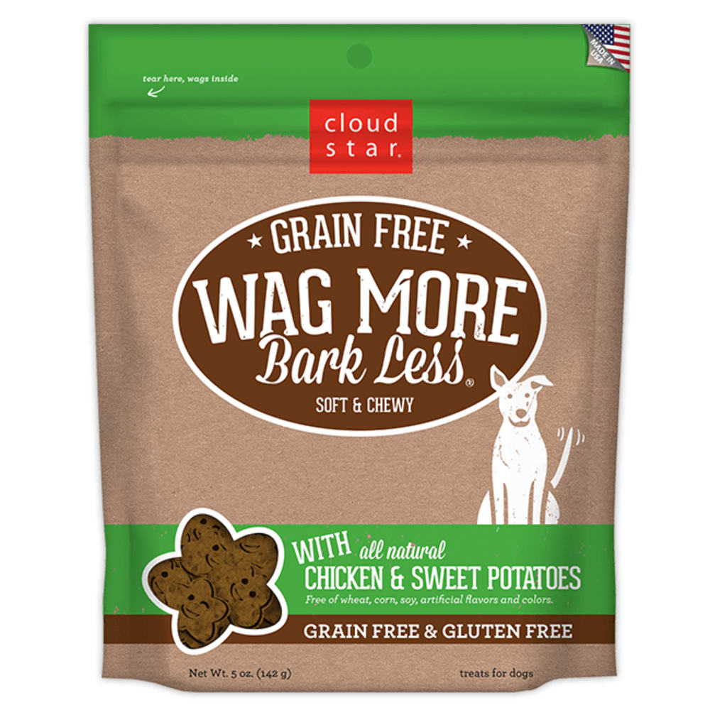 Cloud Star - Wag More Bark Less Soft & Chewy Chicken & Sweet Potatoes Grain-Free Dog Treats, 5oz