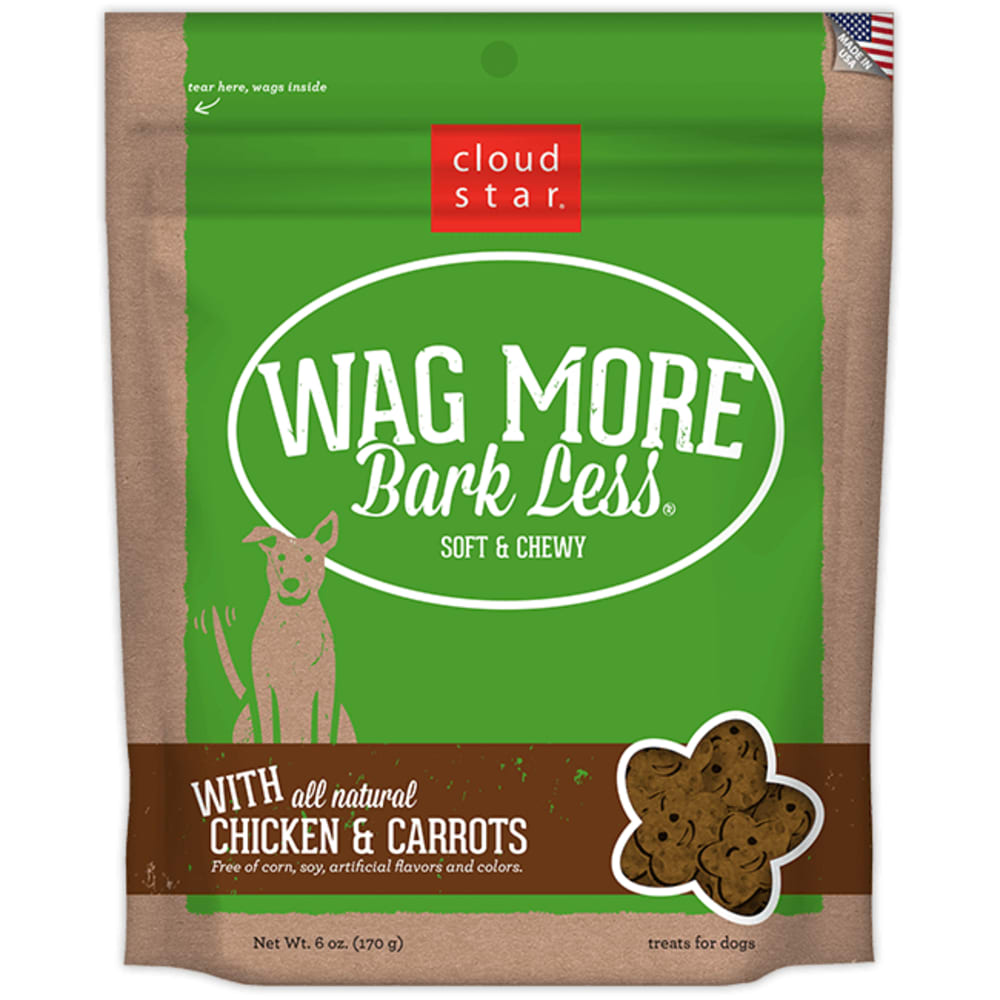 Cloud Star - Wag More Bark Less Soft & Chewy Chicken & Carrots Dog Treats, 5oz