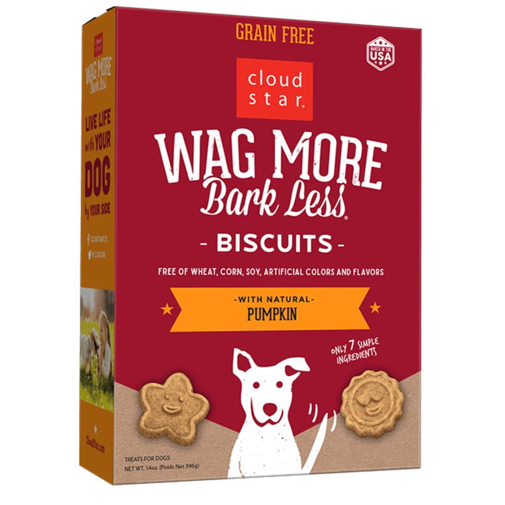Cloud Star - Wag More Bark Less Oven Baked Pumpkin Biscuits Grain-Free Dog Treats, 14oz