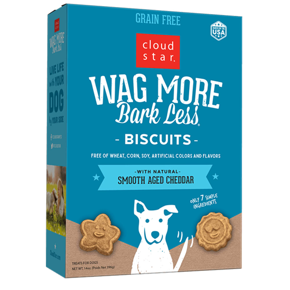 Cloud Star - Wag More Bark Less Oven Baked Smooth-Aged Cheddar Biscuits Grain-Free Dog Treats, 14oz