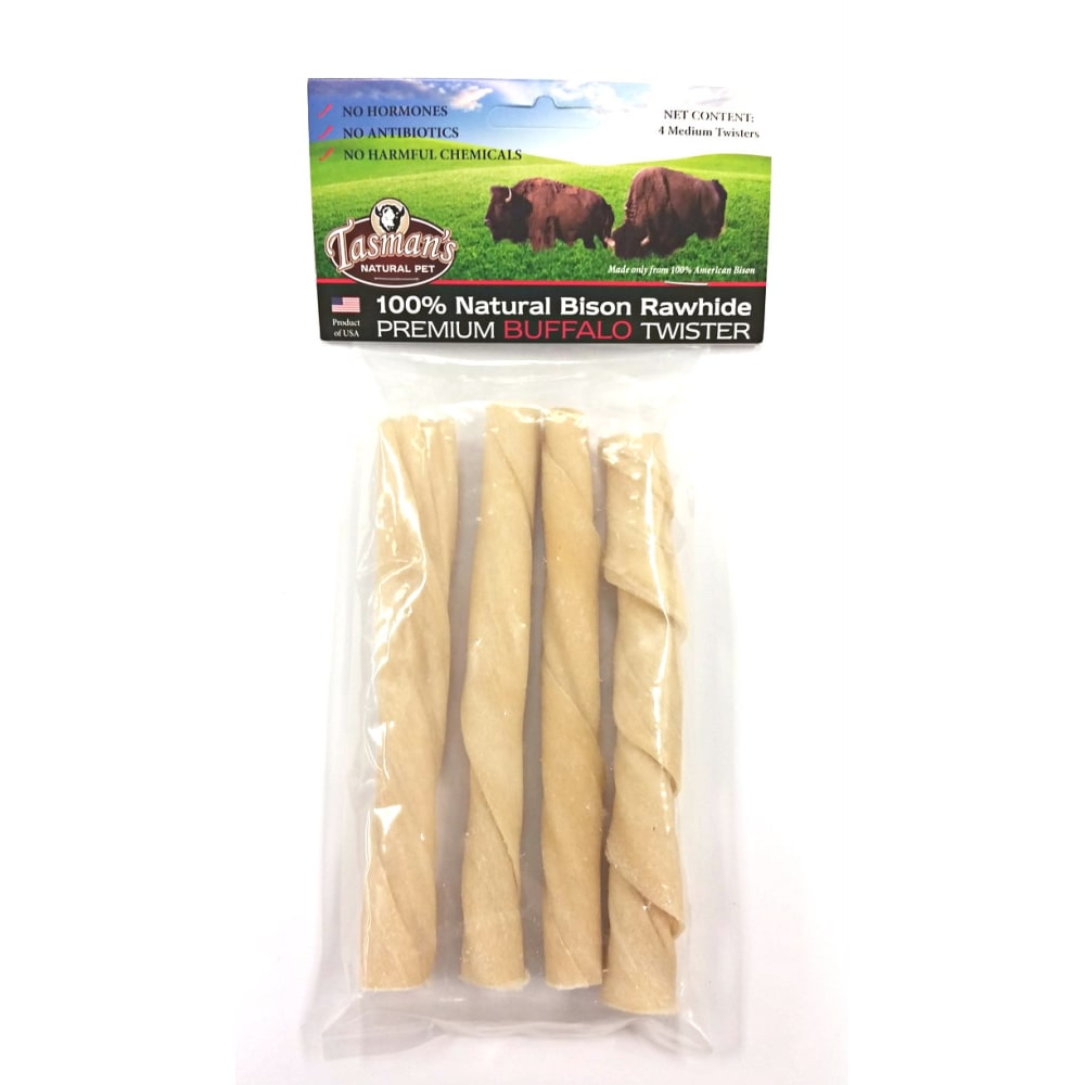 Tasman's Natural Pet - Premium Natural Bison Rawhide Twister 4 Count Dog Chews