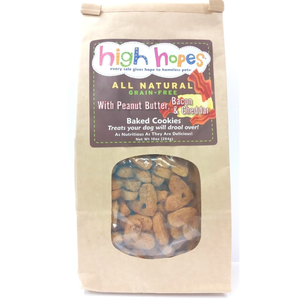 High Hopes - All Natural Baked Cookies With Peanut Butter, Bacon, & Cheddar Grain-Free Dog Treat, 10oz